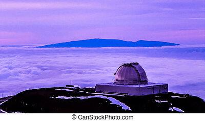 púrpura, anochecer, observatorio, mauna kea