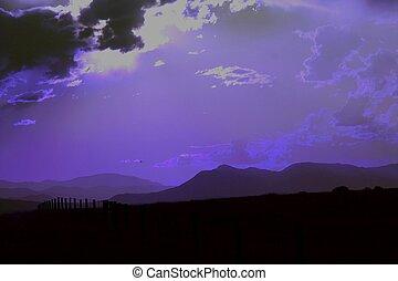 púrpura, anochecer