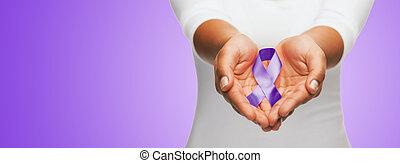 púrpura, arriba, conocimiento, manos de valor en cartera, ...
