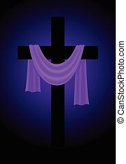 púrpura, bata, cruz
