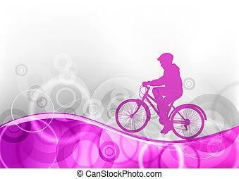 púrpura, bicicleta