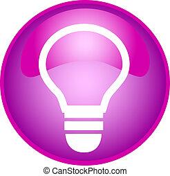 púrpura, bombilla, botón