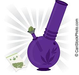 púrpura, bong, marijuana