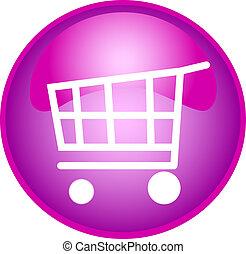 púrpura, botón, compras