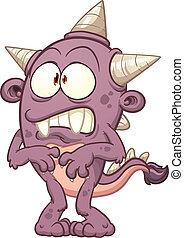 púrpura, caricatura, monstruo