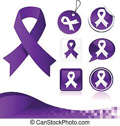 púrpura, cintas, conocimiento, kit