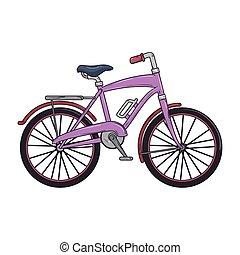 púrpura, clásico, bicicleta