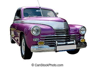 púrpura, coche, retro, aislado
