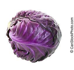 púrpura, col, cabeza
