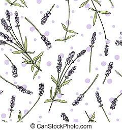 púrpura, coloreado, vector, bosquejo, lavanda, seamless, ...