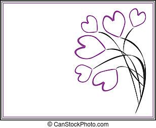 púrpura, corazones, marco, ramas
