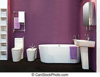 púrpura, cuarto de baño