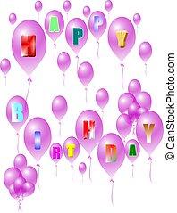 púrpura, cumpleaños, globos, feliz