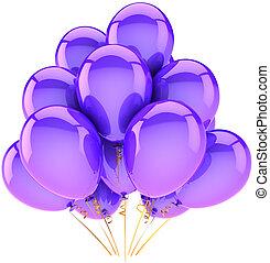 púrpura, decoración, helio, globos