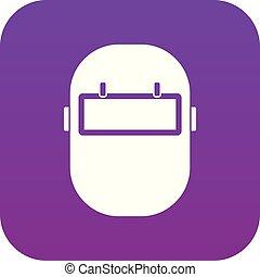 púrpura, digital, máscara, soldadura, icono