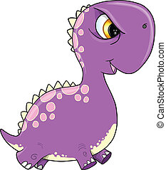 púrpura, dinosaurio, vector, illustra, enojado