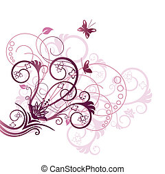 púrpura, diseño floral, esquina, elemento