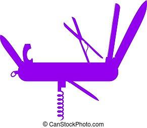 púrpura, diseño, multifunctional, silueta, cuchillo