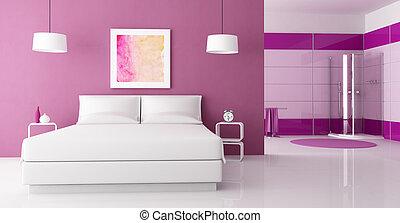 púrpura, ducha, dormitorio, cabaña