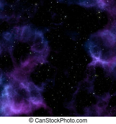 púrpura, espacio, nebulosa
