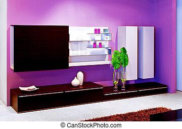púrpura, estante, ángulo
