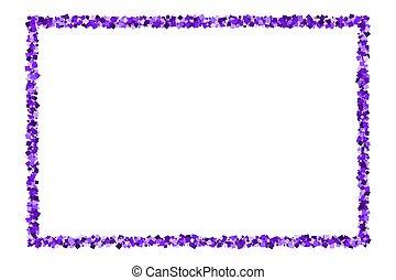 púrpura, explosión, confetti.