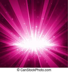 púrpura, explosión, de la luz, y, estrellas