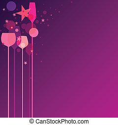 púrpura, fiesta, anteojos