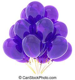 púrpura, fiesta, helio, globos