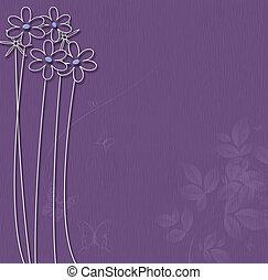 púrpura, flores blancas, plano de fondo