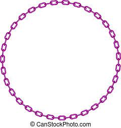 púrpura, forma, círculo, cadena