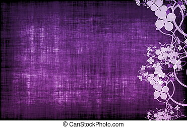 púrpura, grunge, floral, decoración