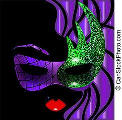 púrpura, imagen, resumen, dama