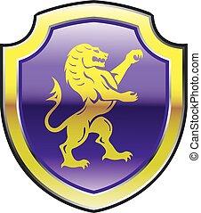 púrpura, león, real, protector