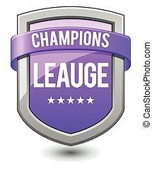púrpura, liga, protector, campeones