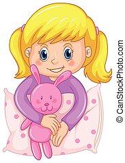púrpura, lindo, niña, pijama