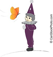 púrpura, lindo, sombrero, payaso, ilustración