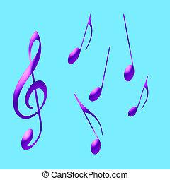 púrpura, música nota