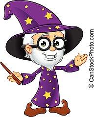 púrpura, mago, viejo