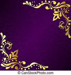 púrpura, marco, con, oro, sari, inspirado, filigrana