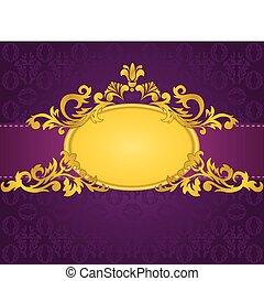 púrpura, marco, oro, plano de fondo