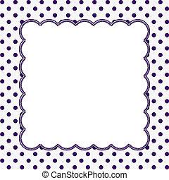 púrpura, marco, polca, plano de fondo, punto blanco