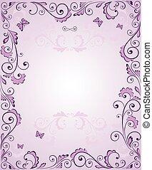 púrpura, marco, saludo