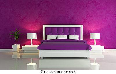 púrpura, moda, dormitorio