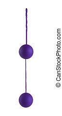 púrpura, mujer, amor, pelotas