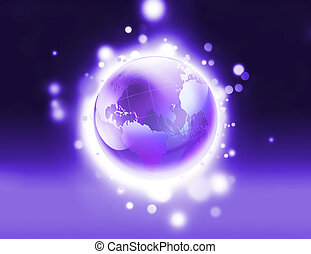 púrpura, mundo, brillante
