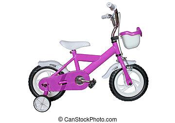 púrpura, niños, bicicleta