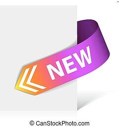 púrpura, nuevo, cinta, esquina