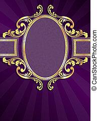 púrpura, oro, vertical, etiqueta