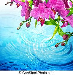 púrpura, orquídea, en, ondulado, agua azul